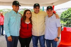 El ministro Ramón Velásquez Araguayán, Iris Varela, Nicolás Maduro Guerra y el presidente de Inparques, José Alejandro Medina. (Foto / Harrison Ruíz)